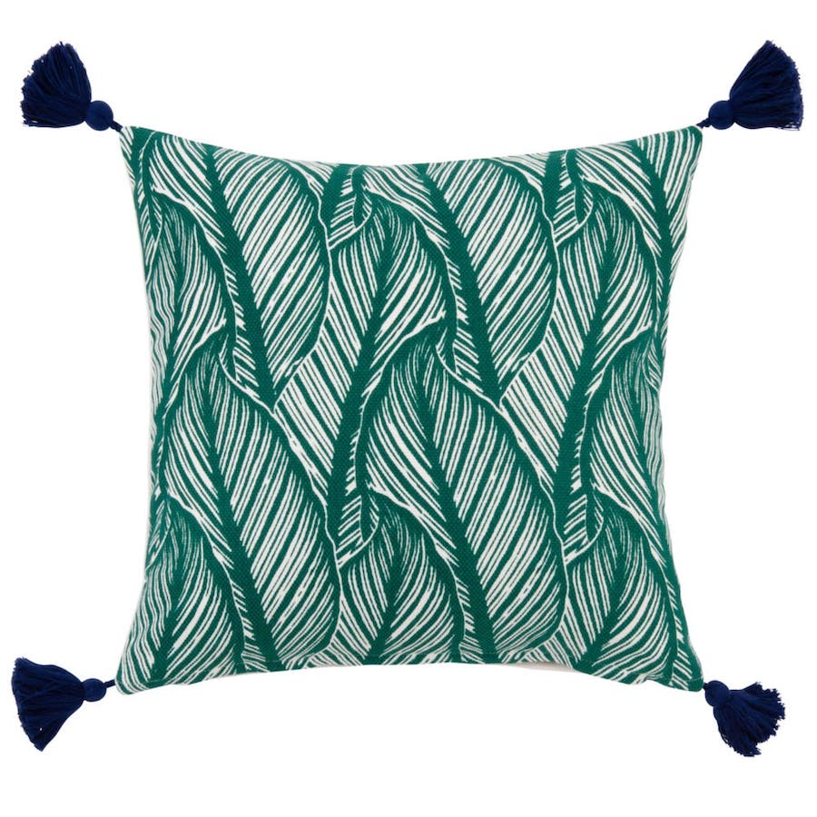 Funda de cojín de algodón verde con estampado de motivos vegetales 40x40