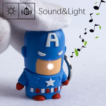 Captain America Keychain With Light And Sound