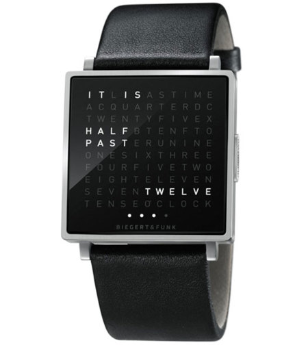 Qlocktwo W de Biegert & Funk: reloj que sustituye los dígitos por letras