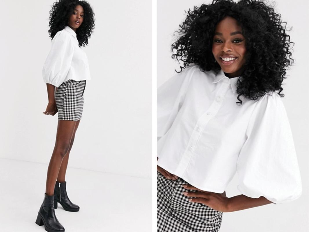 Camisa blanca de manga abullonada de New Look