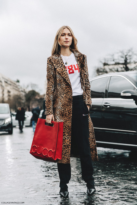 Pfw Paris Fashion Week Fall 2016 Street Style Collage Vintage Leopard Coat Gucci Bag Red 7