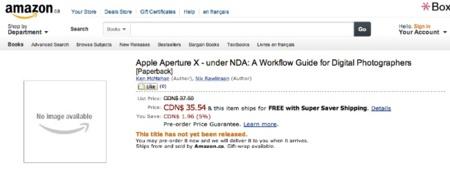La web de Amazon Canada muestra un libro sobre Aperture X, ¿error o desliz?