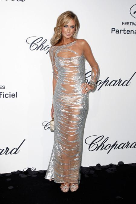 Lady Victoria Hervey vestido con transparencias fiesta Chopard Cannes 2012