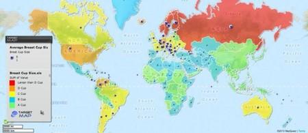 Mapa del mundo en función del tamaño de los pechos