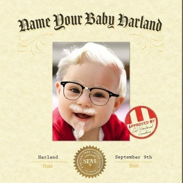 KFC dará 11.000 euros al bebé que nazca el 9 de septiembre y lleve el nombre de su fundador: Harland