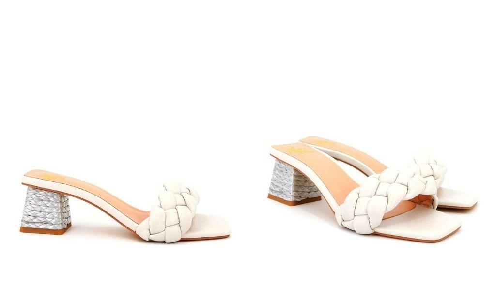 Sandalias de tacón de mujer Alma en Pena trenzada en crudo