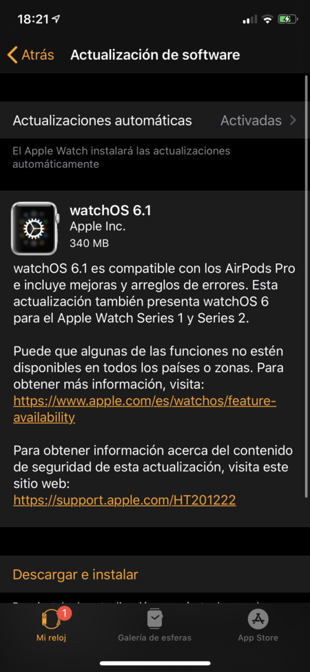 Apple watchOS 6.1