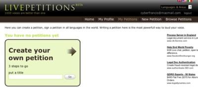 LivePetitions, creando y firmando peticiones online