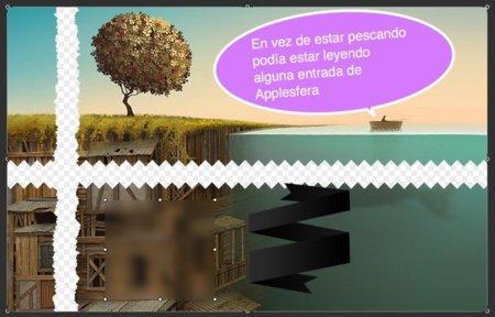 Cortando la captura en horizontal y en vertical con diferentes efectos, como la aplicación de una marca y difuminado de parte de la imagen