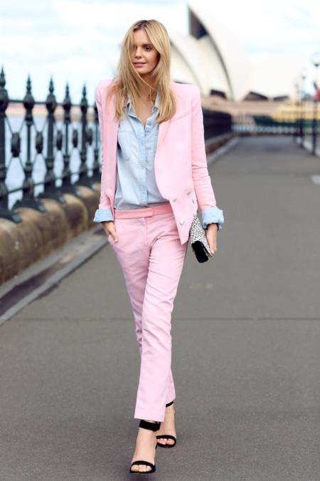 tuula traje pantalon rosa