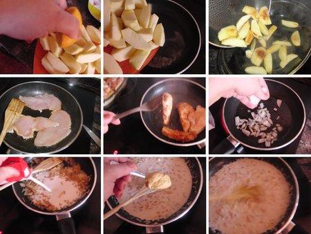 Pollo con manzanas y salsa de mostaza