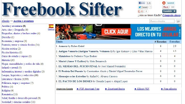 Freebook Sifter, simple y rápido