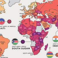 Los países más felices del mundo, en un mapa