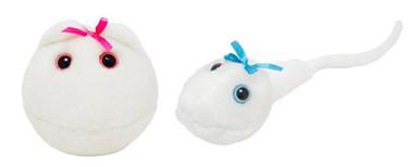 Peluches de óvulo y espermatozoide