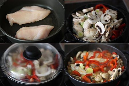 Pollo estofado con pimientos rojos y champiñon. Receta. Pasos