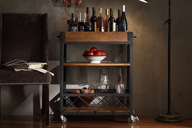 Tribecca Home Myra Rustic Mobile Kitchen Bar