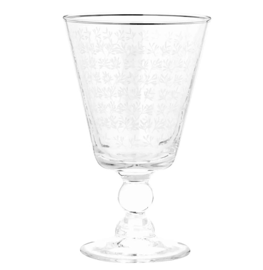 Copa de cristal con estampado floral blanco
