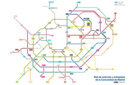 Plano Carreteras Madrid como si fuesen las líneas del Metro madrileño