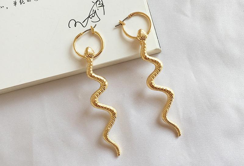 XZP Punk pendientes largos con colgante de serpiente para mujer joyería europea de Color oro oreja gota hecha a mano mujeres pendientes de regalo para chica