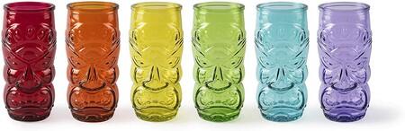 Juego de vasos Tiki multicolores