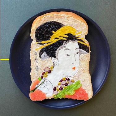 Arte en miniatura en una humilde tostada de pan de molde: el desayuno del confinamiento de la artista japonesa Mamami Sasaku
