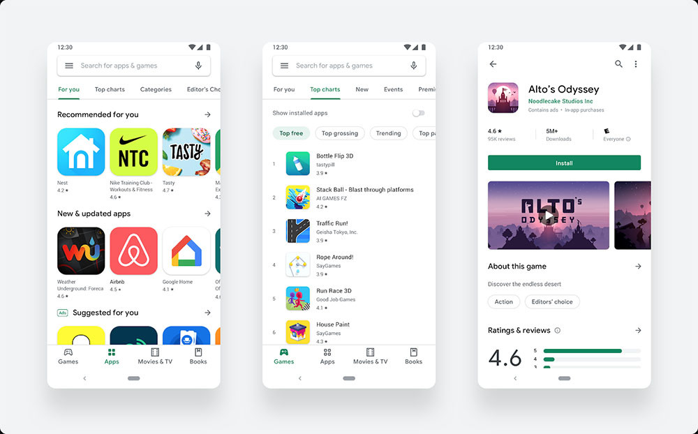 The renovated Google Play Store reaches around the world: this is your new interface