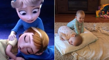 Dos adorables mellizas recrean su escena favorita de Frozen con mayor precisión que actores profesionales