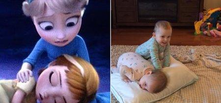 Dos adorables mellizas recrean su escena favorita de Frozen con mayor precisión que actores profesionales