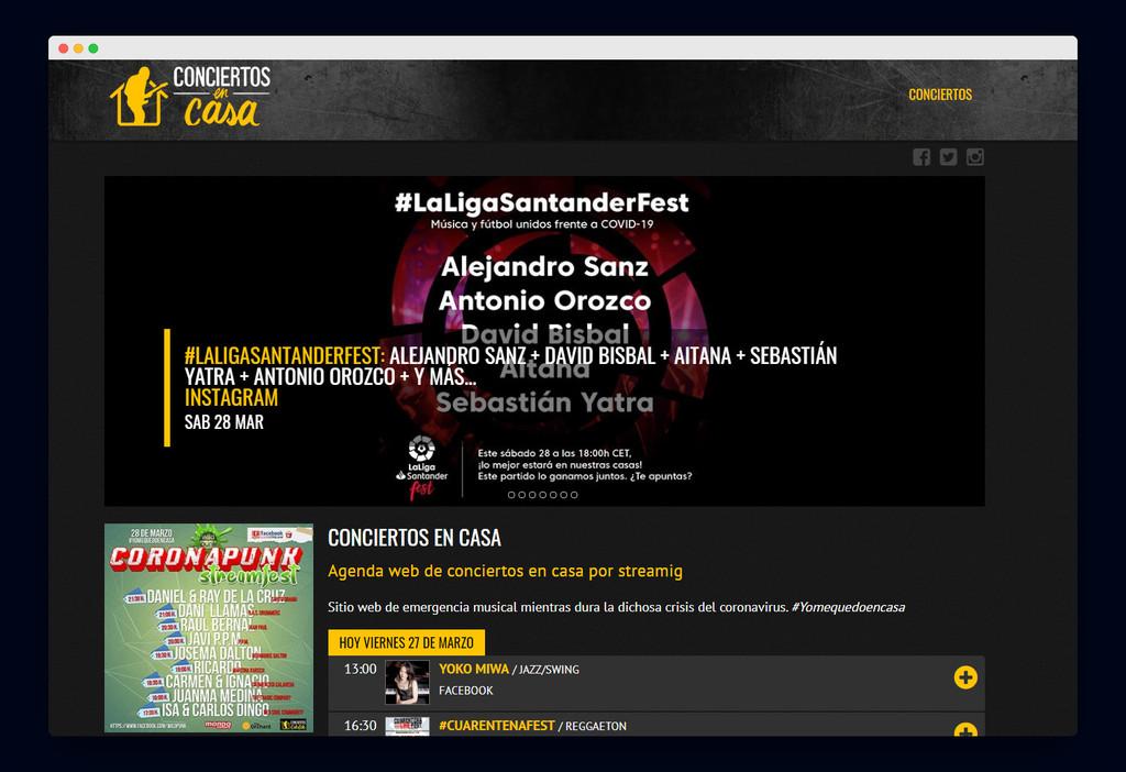 Conciertos en casa: esta web nos ofrece una agenda de las actuaciones en streaming que llevan a cabo artistas de todo el mundo