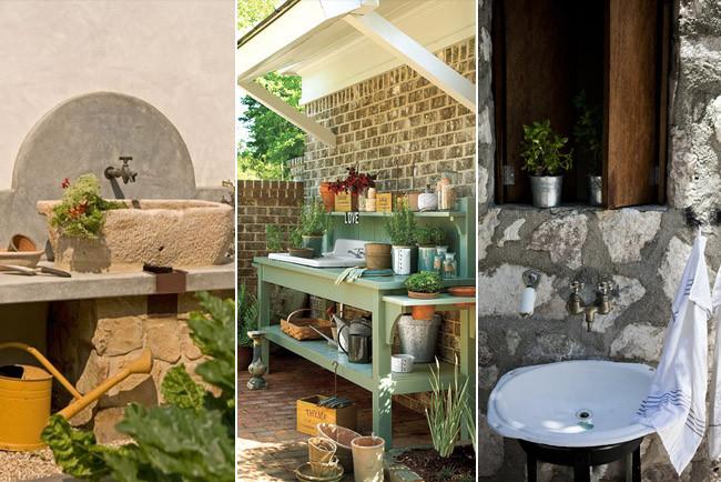 Tres inspiradoras ideas para colocar un fregadero en el jard n - Como cuidar una hortensia de exterior ...