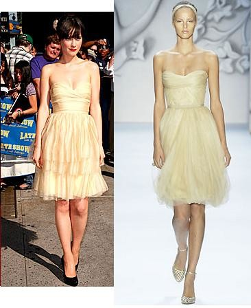 Zooey Deschanel y los strapless dress