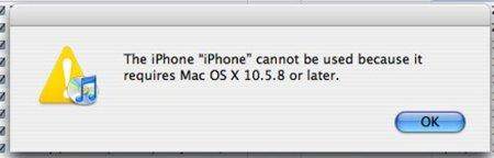 Pantallazo Error sistema operativo no soportado para el iPhone 4