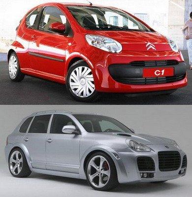 David contra Goliat: Citroën C1 HDi vs Porsche Cayenne Techart