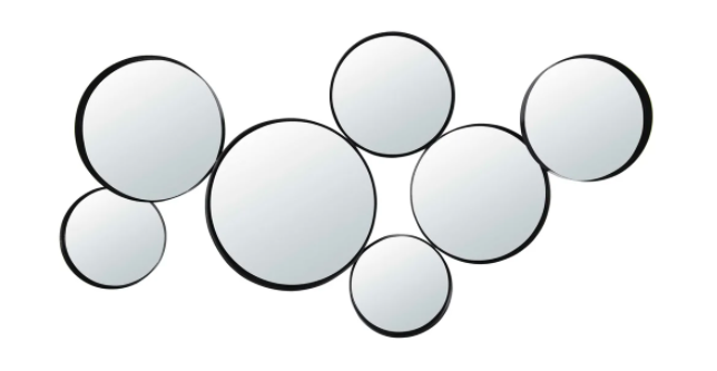 Espejos redondos de metal negro 121x66