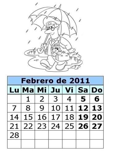 Calendarios infantiles para imprimir