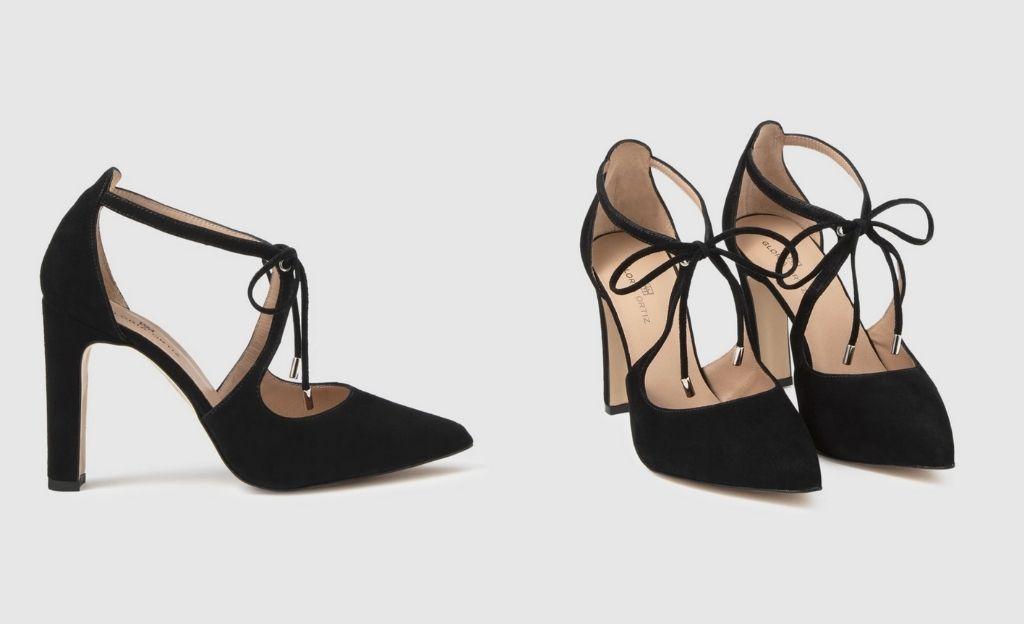 Zapatos de salón de mujer Gloria Ortiz en ante negro con adorno de cordones
