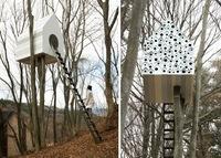 Una casa del árbol y un gran edificio para pájaros, dos en uno