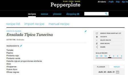 Pepperplate, almacena e importa tus recetas, prepara los menús semanales y organiza tu lista de la compra