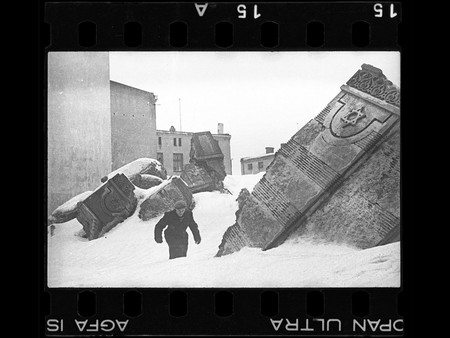 Henryk Ross Man Walking In Winter In The Ruins Of The Synagogue On Wolborska Street Destroyed By Germans 1939 1940
