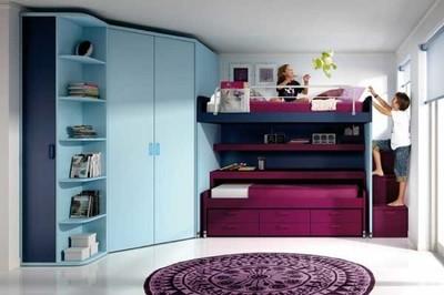 Litera corredera para ahorrar espacio en dormitorios dobles infantiles