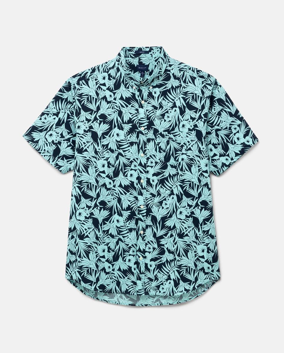 Camisa de hombre manga corta regular estampado hojas tallas grandes