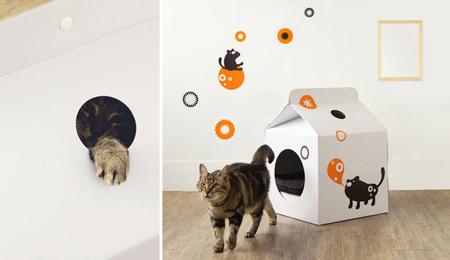 Un cartón de leche gigante para que duerma tu gatito