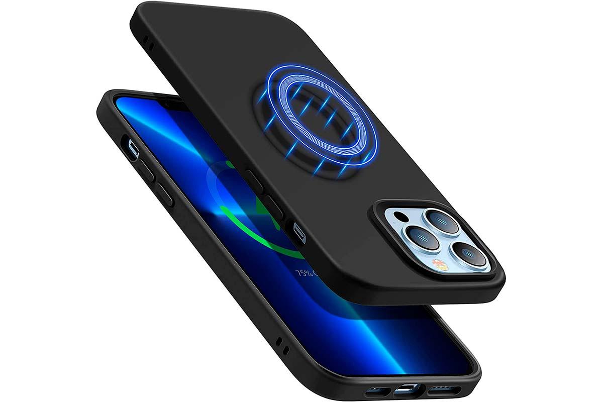 ESR Funda Blanda Cloud con HaloLock, Compatible con iPhone 13 Pro MAX, Compatible con Carga MagSafe, Funda Slim de Silicona Líquida, Amortiguador, Incluye Camera Guard, Negro