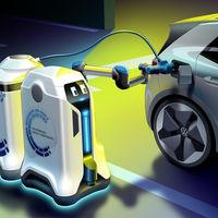 Volkswagen presenta su 'mayordomo' particular: un robot autónomo que carga coches eléctricos a demanda