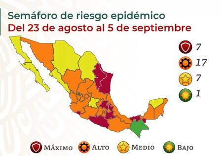 Mexico Se Estanca En Rojos Y Naranjas En El Semaforo De Covid Ya Son 17 Los Estados Naranjas Y Siete En Color Rojo