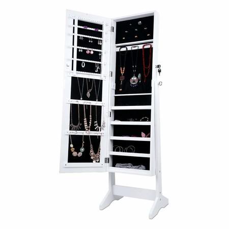 Amazon nos ofrece este mueble 2 en 1 por 58,49 euros en oferta flash: es un espejo de pie con armario joyero incorporado Langría