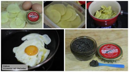 Huevos Rotos Salmon Y Caviar Pasos