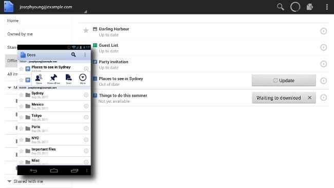 Google Docs para Android: ahora con acceso offline y visualización mejorada para tablets
