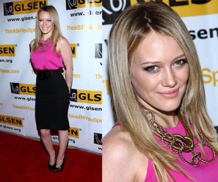 Hilary Duff de fucsia en la gala de los premios GLSEN Respect