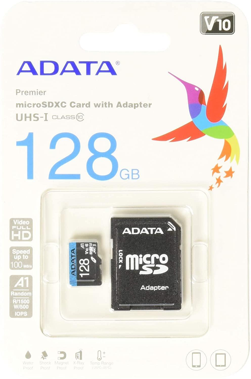 Tarjeta microSD ADATA de 128 GB clase 10 con adaptador
